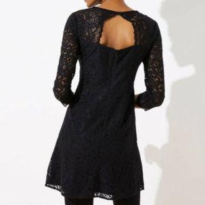 New Ann Taylor Loft Xs 2 Black Lace Long Slv dress